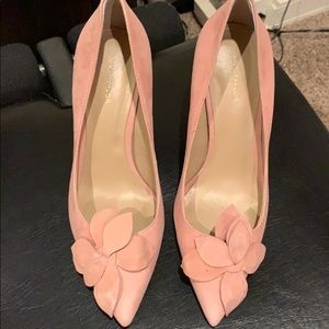 Ann taylor suede pink with petal bow heels 7